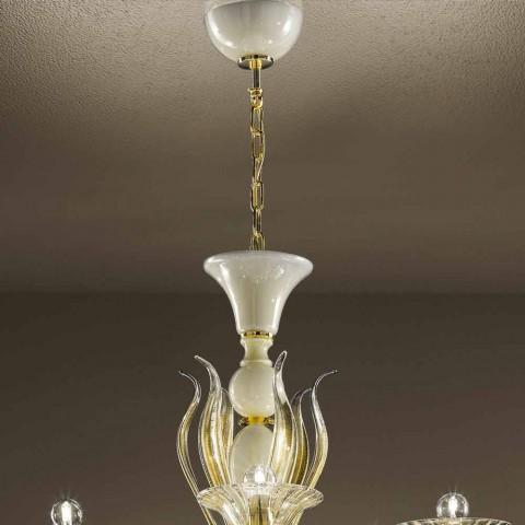 Lustr 15 světel v bílém a zlatém benátském skle, vyrobený v Itálii - Agustina