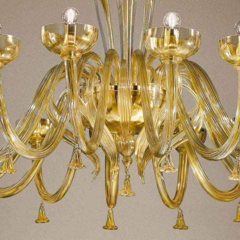 Lustr 16 světel v benátském skle a zlatě, ručně vyráběný v Itálii - Regina