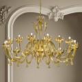 16 světel, lustr ze skla a zlata, ručně vyrobený v Itálii - Regina