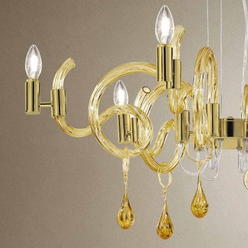 6 lehkých ručně vyráběných skleněných lustrů v Benátkách vyrobených v Itálii - Bernadette