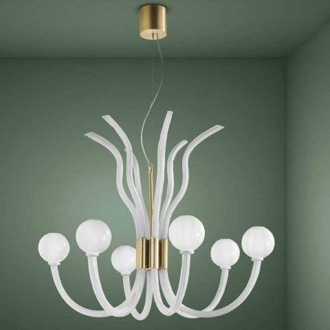 6 světelných lustrů ze skla vyrobených ručně v Itálii - Antonietta