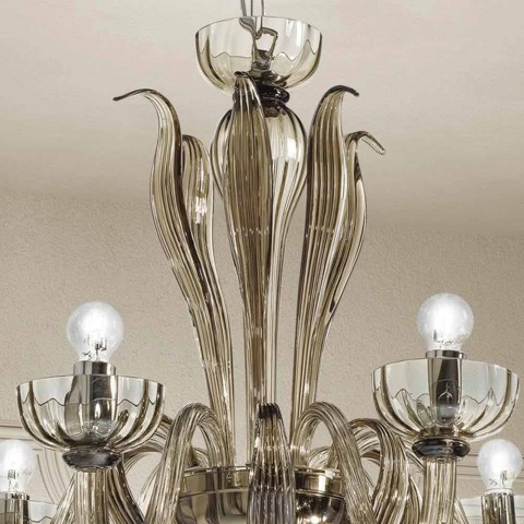 6 lehký lustr z benátského skla, ručně vyrobený v Itálii - Regina