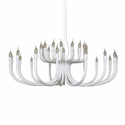Závěsný lustr s 16 nebo 32 světly z bílého nebo černého hliníku - Alviso