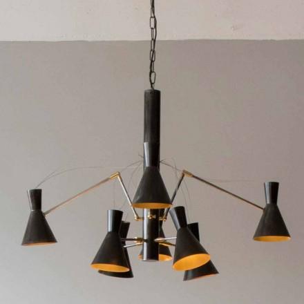 Ručně vyrobený lustr se železnou a hliníkovou strukturou vyrobený v Itálii - Selina