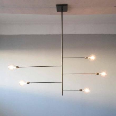 Řemeslný designový lustr se železnou strukturou vyrobený v Itálii - Tinna