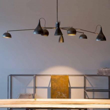 Ručně vyrobený lustr ze železa s hliníkovými odstíny vyrobený v Itálii - Verino