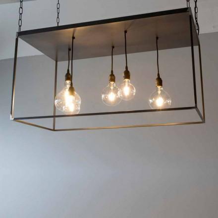 Ručně vyrobený lustr z černého železa s leštěným řetízkem vyrobený v Itálii - Cosma