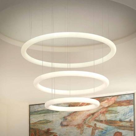 Bílý LED designový lustr s kovovou růžicí vyrobený v Itálii - Slide Giotto