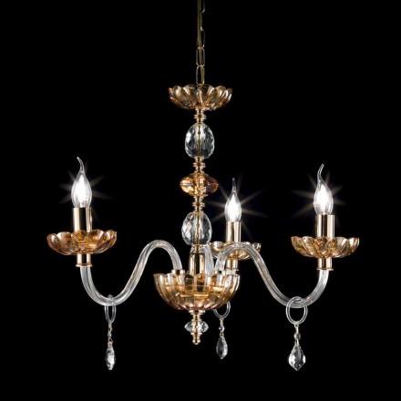 Klasický lustr v krystalové a skleněné 3 světla Belle, made in Italy