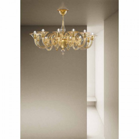 12 světel ručně vyráběného benátského skleněného lustru vyrobené v Itálii - Margherita