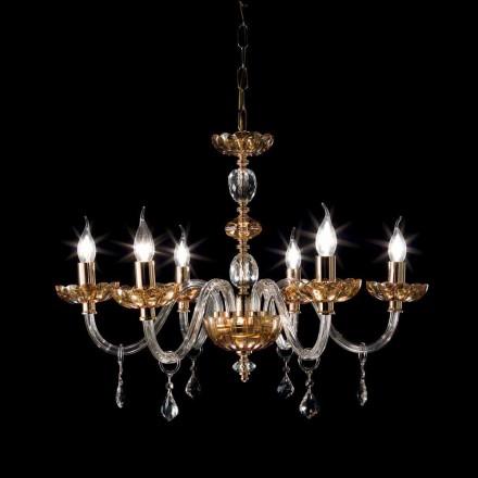 Lustr klasický design s 6 skleněnými světla a skleněné Fine