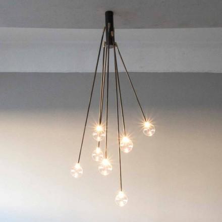 Ručně vyrobený železný designový lustr se 7 světly vyrobený v Itálii - Ombro