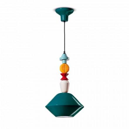 Zelená nebo žlutá keramická závěsná lampa vyrobená v Itálii - Ferroluce Lariat