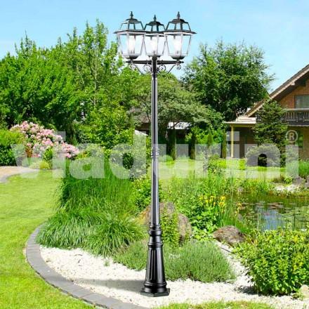 Klasická zahradní svítilna s třemi světly vyrobená z hliníku, Kristel
