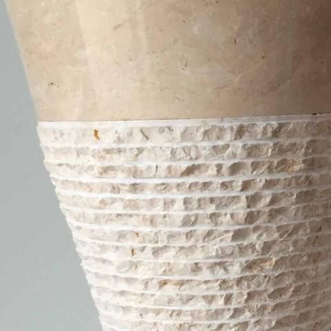 Bílé sloupové umyvadlo v přírodním kameni Iris, unikátní kus