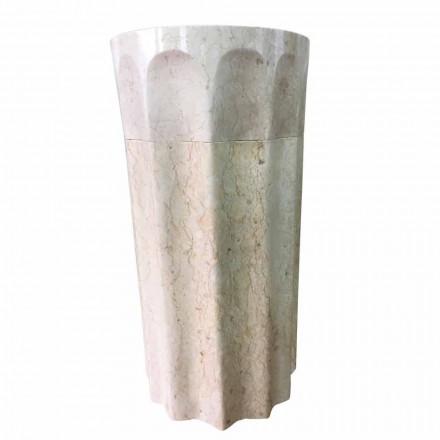 Daisy sloupové umyvadlo v bílém přírodním kameni, unikátní kus