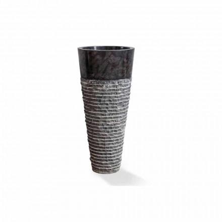 Sloupové umyvadlo moderního designu v lesklém černém mramoru - Merlo
