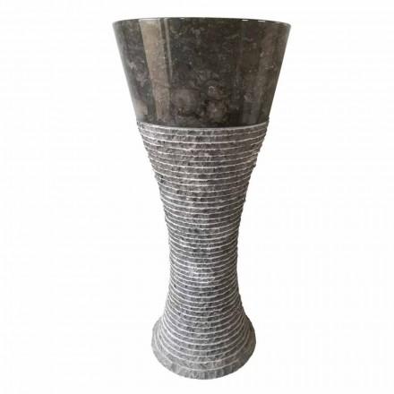 Umyvadlo podstavec v tmavě šedém přírodním kameni Fara, unikátní kus