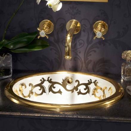 Vestavěné zdobené umyvadlo v hliněném ohni a 24k zlatě vyrobené v Itálii, Otis