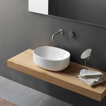 Oválné umyvadlo na desku v moderním designu v bílé keramice - Ventori2