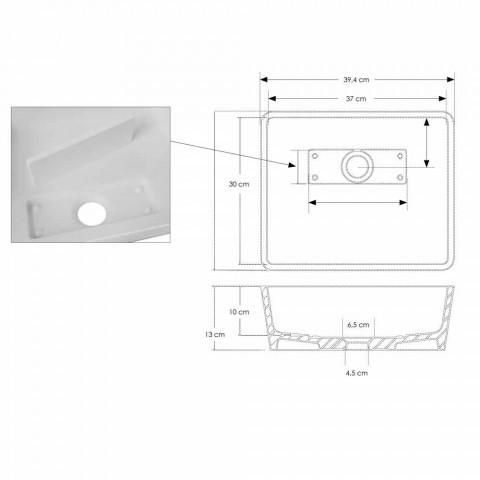 Bílé pevné umyvadlové umyvadlo na desku se skrytým odtokem - Sider