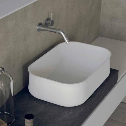 Pultové obdélníkové bílé koupelnové umyvadlo v moderním designu - Tulyp2