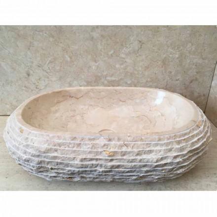 Cora oválné bílé čalouněné umyvadlo, unikátní kus vyrobený ručně