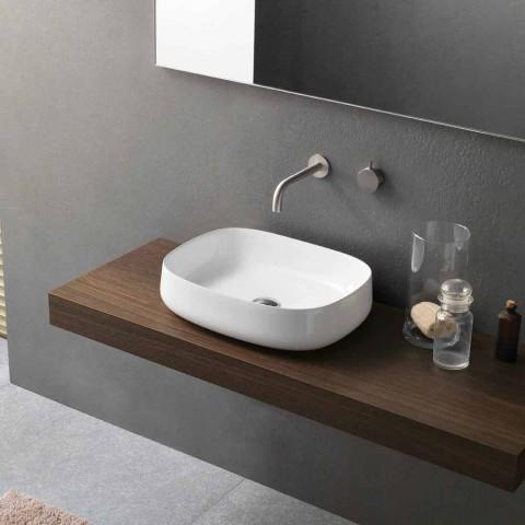 Bílé keramické umyvadlo na desku v moderním designu vyrobené v Itálii - Tune2