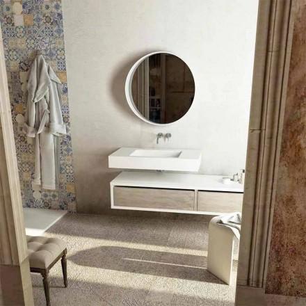 Top s integrovaným centrálním dřezem do koupelny Gemona, vyrobený v Itálii