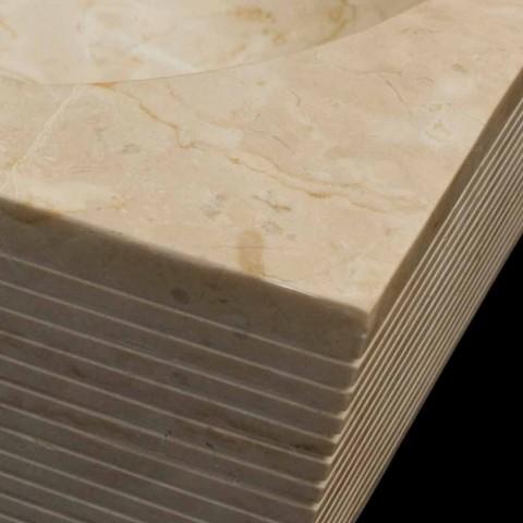 Bílý čalouněný umyvadlo z přírodního kamene, jedinečný kus, Zor