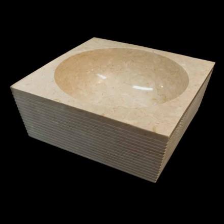 Bílý designový umyvadlo v přírodním kameni Zor, unikátní kus