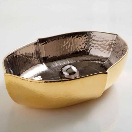 Pultová keramická a zlatá deska umyvadla vyrobená v Itálii Oscar design