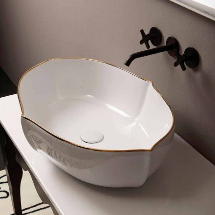 Deska designu keramické bílé zlaté umyvadlo vyrobené v Itálii Oscar