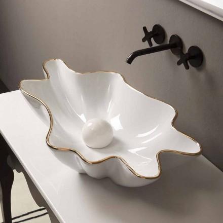 Deska designu keramické bílé zlaté umyvadlo vyrobené v Itálii Rayan