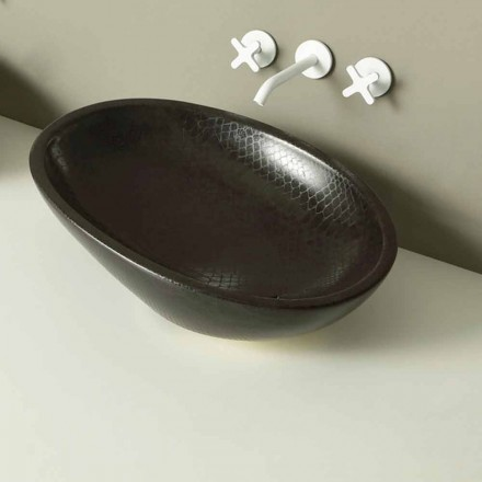 Pultová deska keramické černé pythonové umyvadlo vyrobené v Itálii Lesklý