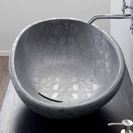 Umývadlo na desku v šedé kokosové tištěné keramice vyrobené v Itálii Lesklý