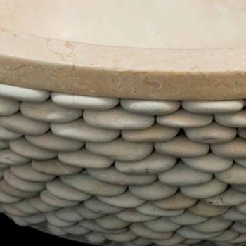Pultová deska z přírodního kamene kolem Banjo bílá