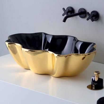 Moderní umyvadlo na desku ve zlaté a černé keramice vyrobené v Itálii Cube