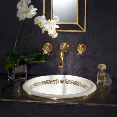 Koupelnové umyvadlo zapuštěné v hliněném ohni a zlatě vyrobené v Itálii, Otis