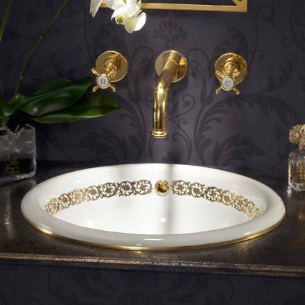 Vestavěné koupelnové umyvadlo v hliněném ohni a 24k zlatě vyrobené v Itálii, Otis