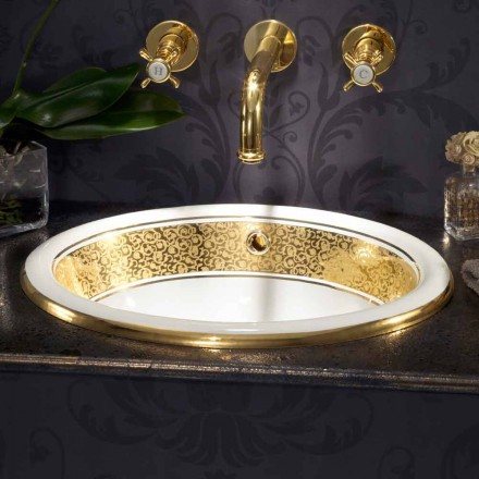Kruhové vestavěné umyvadlo v požární hlíně a 24k zlato vyrobené v Itálii, Otis