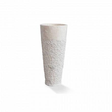 Moderní stojací umyvadlo v bílém mramoru - Merlo