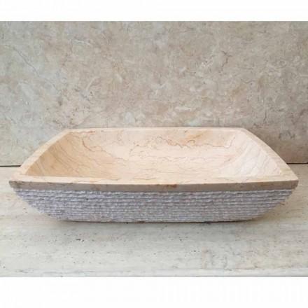 Umývadlo na desku pro koupelnu Bílé křídlo, unikátní kus, z kamene