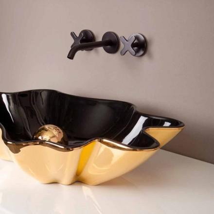Designové umyvadlo keramické černé a zlaté vyrobené v Itálii Rayan