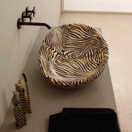 Designové keramické umývadlo s oranžovou zebrou vyrobené v Itálii Lesklý