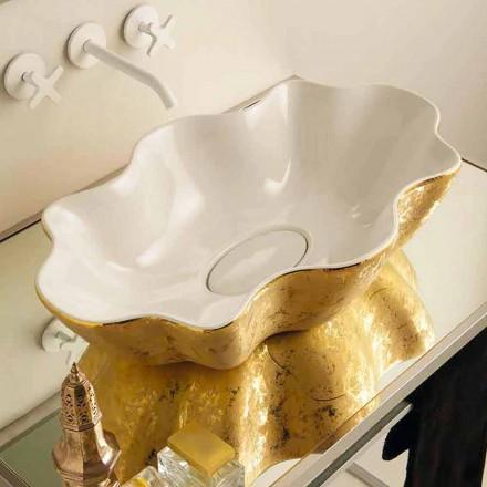 Deska designérské desky v bílé a zlaté keramice vyrobené v Itálii Cubo