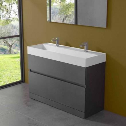 Dvojité umyvadlo s podlahovou skříní moderního designu v laminátu - Pompeje