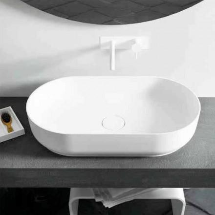 Moderní design oválné umyvadlo na desku Dalmine Big, vyrobené v Itálii