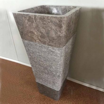 Designové šedé sloupové umyvadlo v přírodním kameni Taffy, unikátní kus