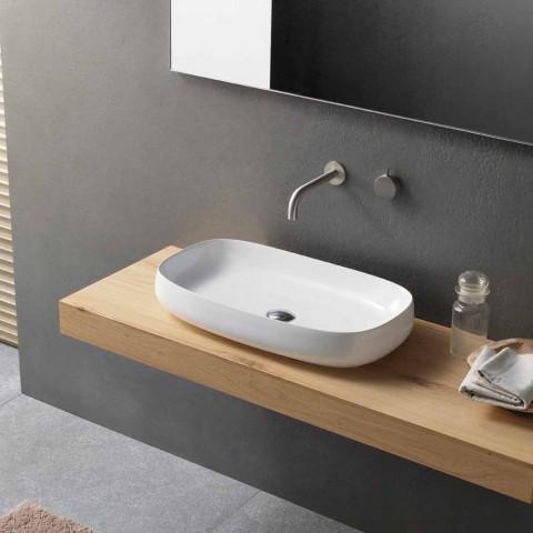 Bílé keramické umyvadlo na desku v moderním designu vyrobené v Itálii - Tune1